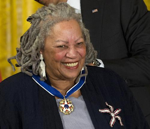 FILE - This May 29, 2012 file photo shows author Toni Morrison receiving a Medal of Freedom award during a ceremony in the East Room of the White House in Washington. Nobel laureate Toni Morrison, 81, had a novel out in the spring of 2012 and has said she's working on a new one. (AP Photo/Carolyn Kaster, file)