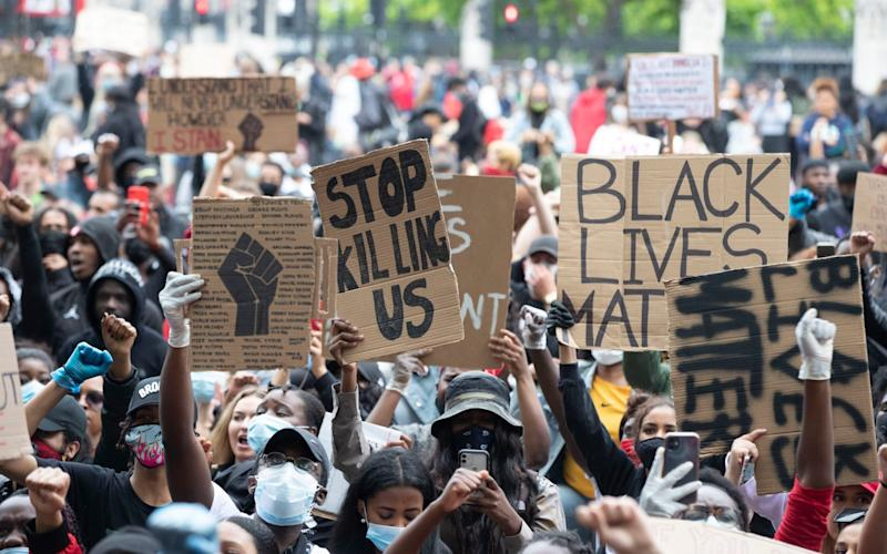 A Black Lives Matter protest in London in reaction to the murder of George Floyd  - Heathcliff O'Malley