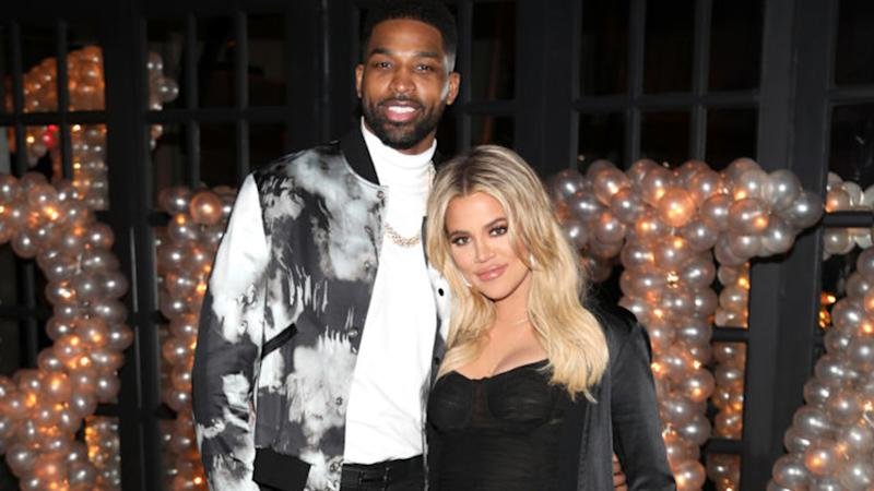 A photo of NBA player Tristan Thompson with his ex-partner, reality star Khloe Kardashian.