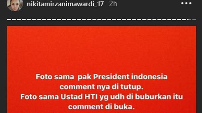 Unggahan Nikita Mirzani (Instagram/ nikitamirzanimawardi_17 via Kapanlagi.com)