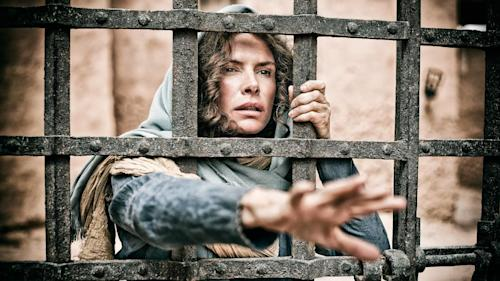 "This publicity image released by History shows Roma Downey as Mother Mary in a scene from ""The Bible,"" premiering Sunday, March 3 at 8 p.m. EST on History. (AP Photo/History, Casey Crawford)"