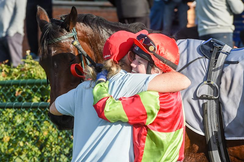 Trainer Donna Gaskin with Mikaela Claridge after her horse Hi Suppose won the Bendigo Living Plant Hire F&M BM70 Handicap at Bendigo Racecourse in May, 2019.