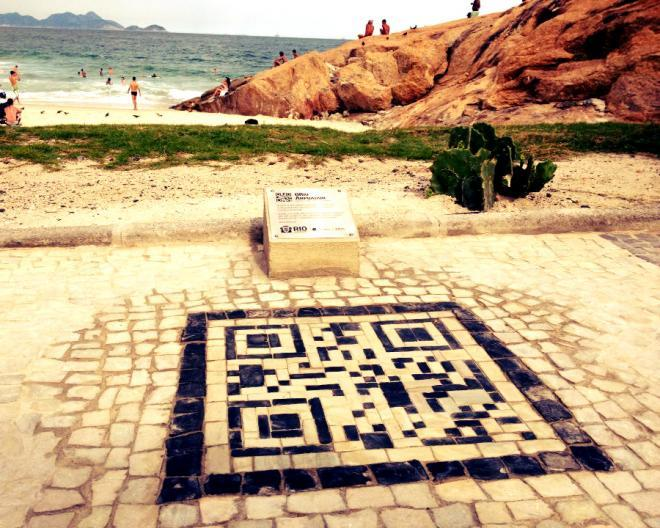 What are these black boxes? Rio installs QR codes in the sidewalk