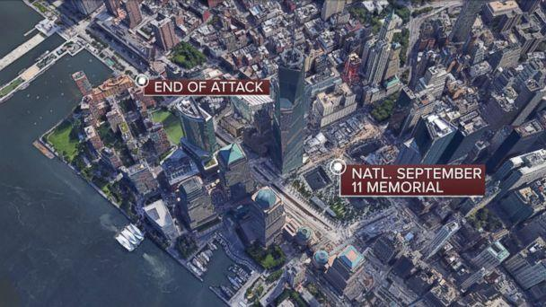 PHOTO: Location of the truck attack in Lower Manhattan, Oct. 31, 2017. (ABC News)