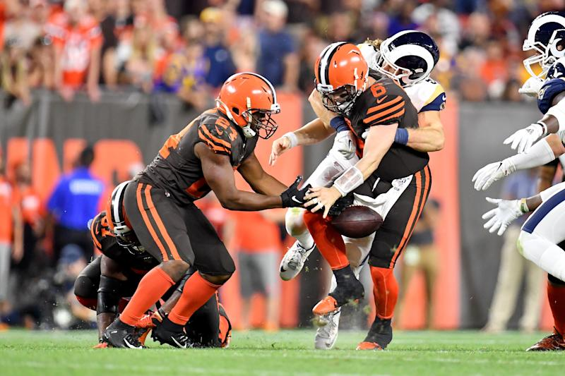 This hit of Baker Mayfield by Clay Matthews was a familiar scene in Cleveland Sunday. (Getty)