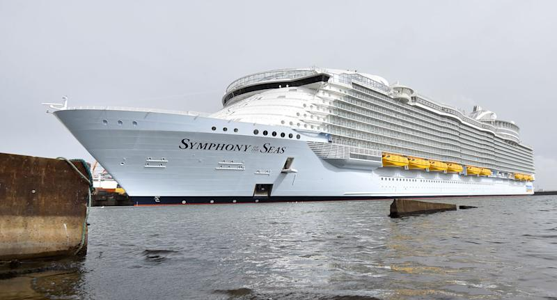 Royal Caribbean Symphony of the Seas ship shown after man fell while cruising in the US Virgin Islands.