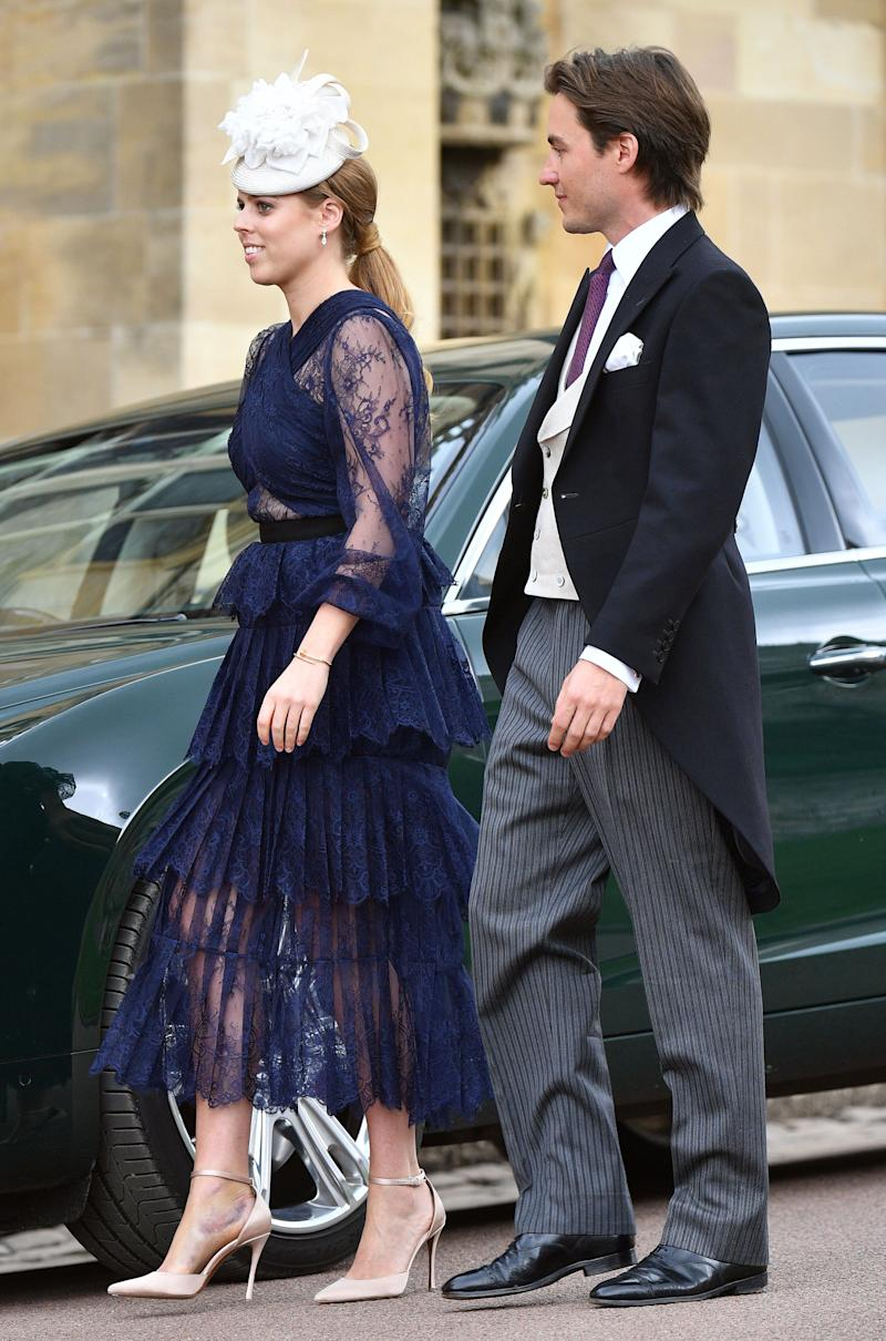 Princess Beatrice and Edoardo Mapelli Mozzi attend the wedding of Lady Gabriella Windsor and Thomas Kingston