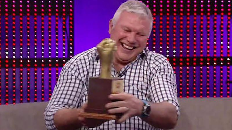 Danny Frawley's 'Golden Fist' award is at the centre of a touching tribute to the former star, who died on Monday.