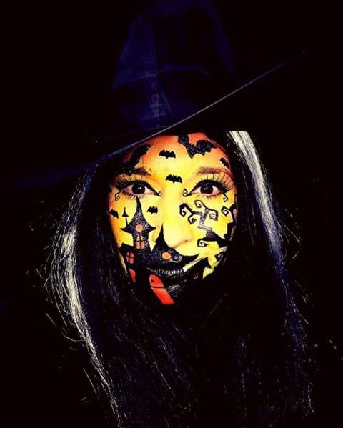 """<p>There's nothing simple about this impressive haunted house scene face paint. The black silhouette artwork pops against the orange and gold background for a striking take for Halloween night.</p><p><a class=""""body-btn-link"""" href=""""https://www.amazon.com/Mehron-Makeup-Paradise-Paint-Palette/dp/B00FGAET6A/?tag=syn-yahoo-20&ascsubtag=%5Bartid%7C10050.g.34196559%5Bsrc%7Cyahoo-us"""" target=""""_blank"""">SHOP FACE PAINT PALETTE</a></p><p><a href=""""https://www.instagram.com/p/CFpECsLlpFk/?utm_source=ig_embed&utm_campaign=loading"""">See the original post on Instagram</a></p>"""