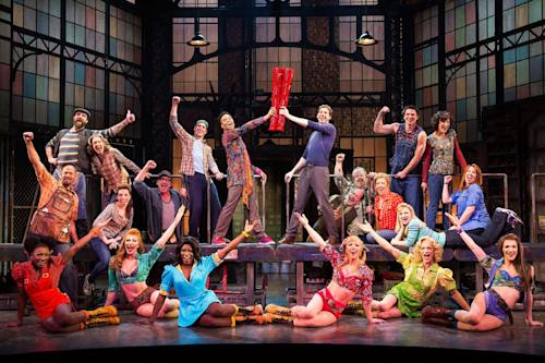 "This theater image released by The O+M Company shows the cast during a performance of the musical ""Kinky Boots."" (AP Photo/The O+M Company, Matthew Murphy)"