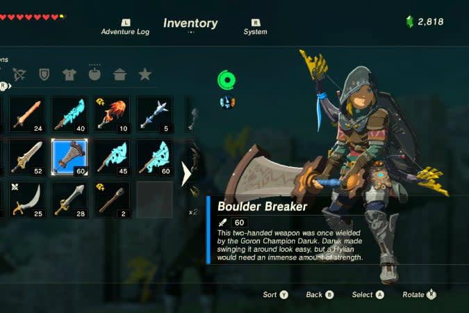 the legend of zelda breath wild best weapons boulder breaker