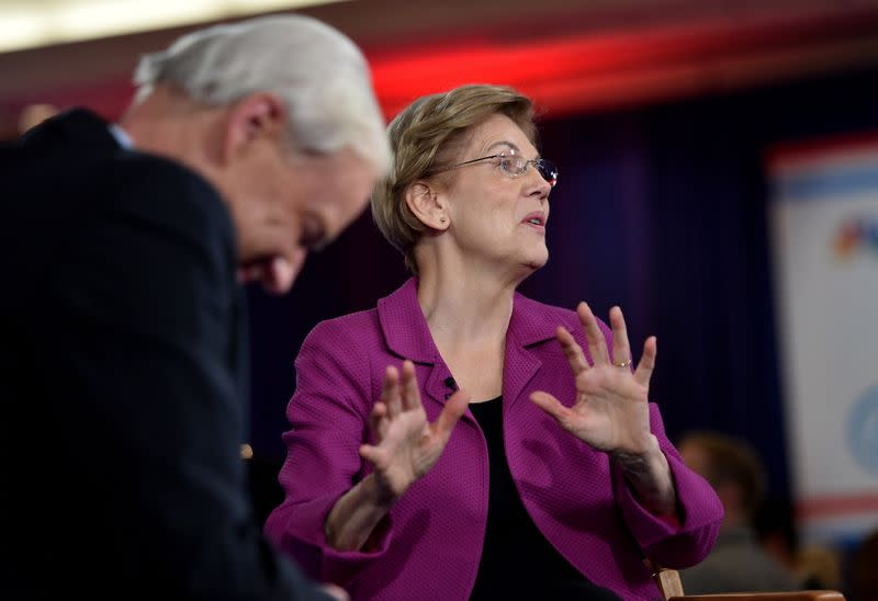 Senator Elizabeth Warren does a television interview after the ninth Democratic 2020 U.S. Presidential candidates debate in Las Vegas, Nevada, U.S.