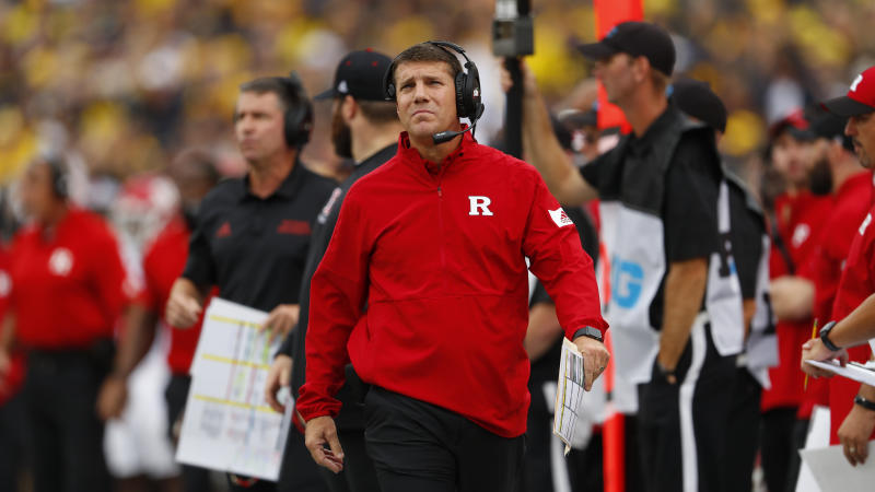 Rutgers head coach Chris Ash watches in the first half of an NCAA college football game against Michigan in Ann Arbor, Mich., Saturday, Sept. 28, 2019. (AP Photo/Paul Sancya)