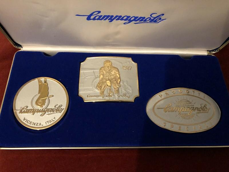 Three Campagnolo commemorative belt buckles from 1980 available on eBay