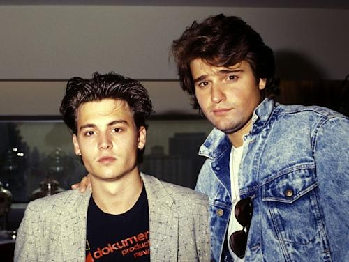 Johnny Depp and Peter DeLuise attend the FOX Television Unveils New Primetime Schedule, at the UN Plaza Hotel in New York City, on June 3, 1987 -- Getty Premium