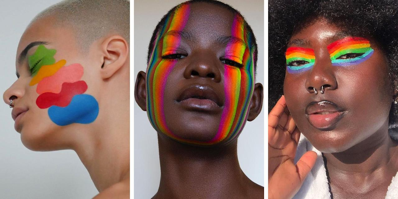 """<p>When it comes to Pride month, there's a million different ways you can celebrate and show your love for the <a href=""""https://www.elle.com/culture/books/g28417/lgbt-books-lgbt-writers-list/"""" target=""""_blank"""">LGBTQ+</a> community, and your beauty routine is just one of them. </p><p>Totally joyful to look at and almost as much fun to create, rainbow make-up is the easiest way to wear the symbol of Pride for everyone to see. From arty paint swatch eyeshadow, to working a full on rainbow prism across your whole face, there's a multi-colored make-up look for everyone. </p><p>Read on for all the rainbow make-up inspiration you need to paint your face in Pride's colors. </p>"""