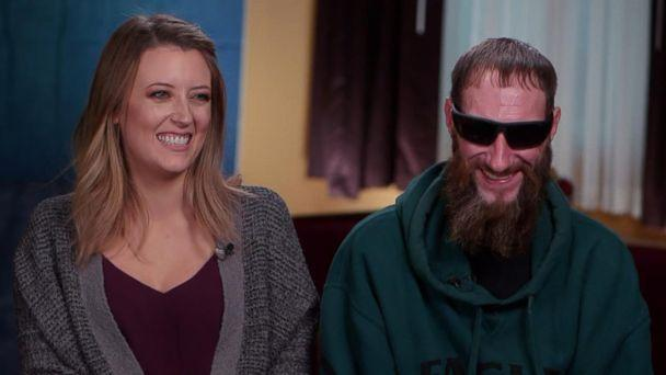 PHOTO: Kate McClure and Johnny Bobbitt reunite for the first time on TV after Bobbitt helped McClure when her car broke down two months ago on I-95 exit ramp in Philadelphia. (ABC News)