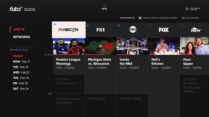 FuboTV Guide Screen