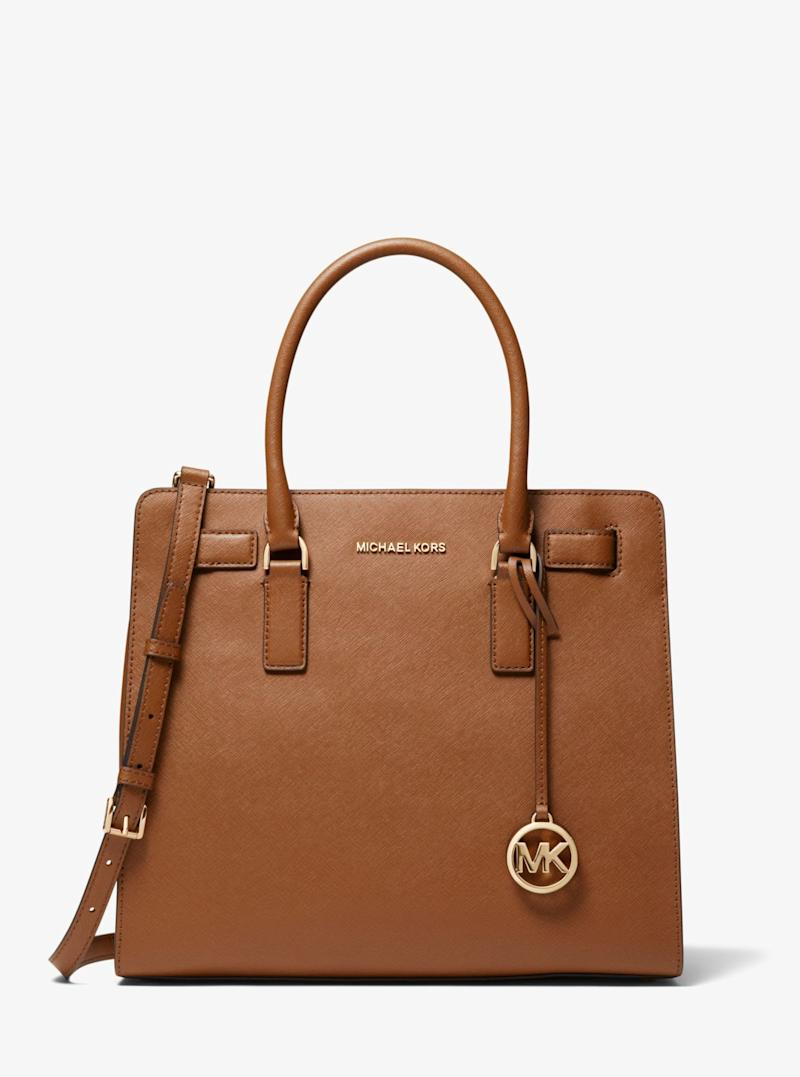 MICHAEL KORS Zoe Medium Pebbled Leather Satchel