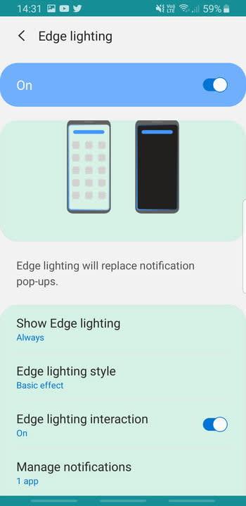 Screenshot of Edge Lighting menu on Samsung Galaxy S8
