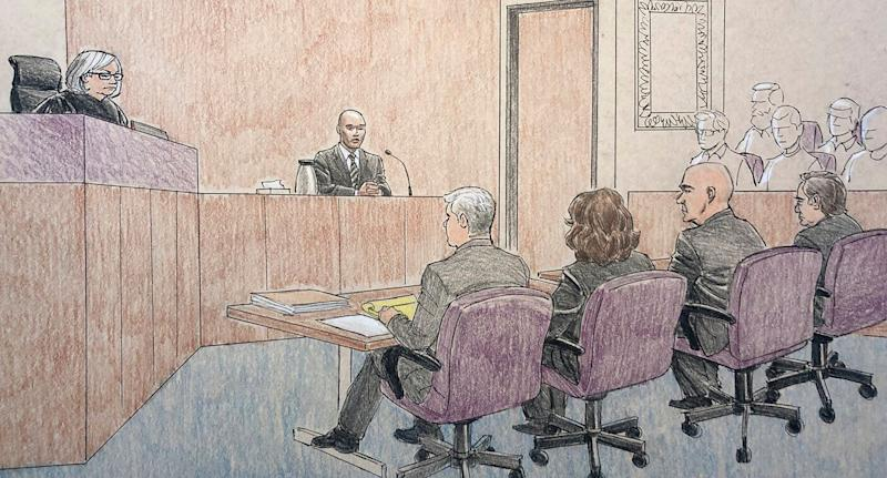 This courtroom sketch depicts former Minneapolis police officer Mohamed Noor, centre, on the witness stand in Minneapolis. Source: AAP