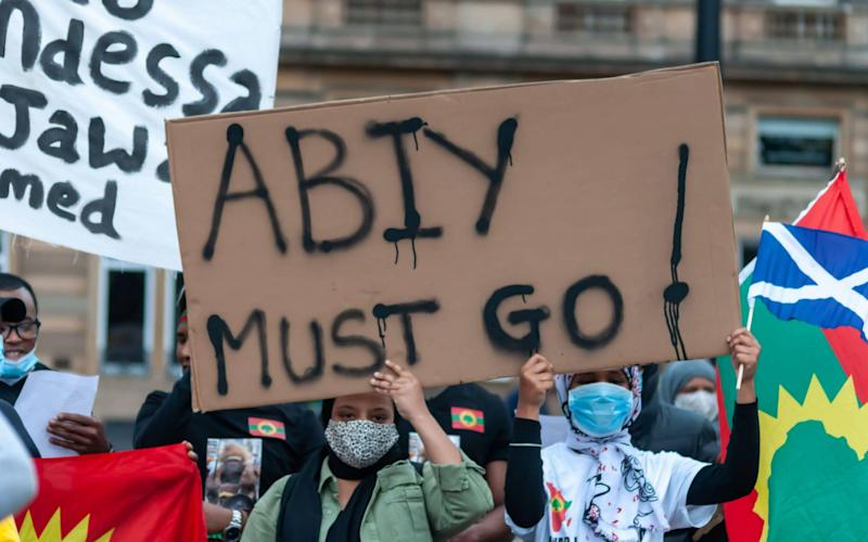 Protesters in Glasgow last month demand the removal of Ethiopia's prime minister Abiy Ahmed. - Skully / Alamy Live News/https://www.alamy.com