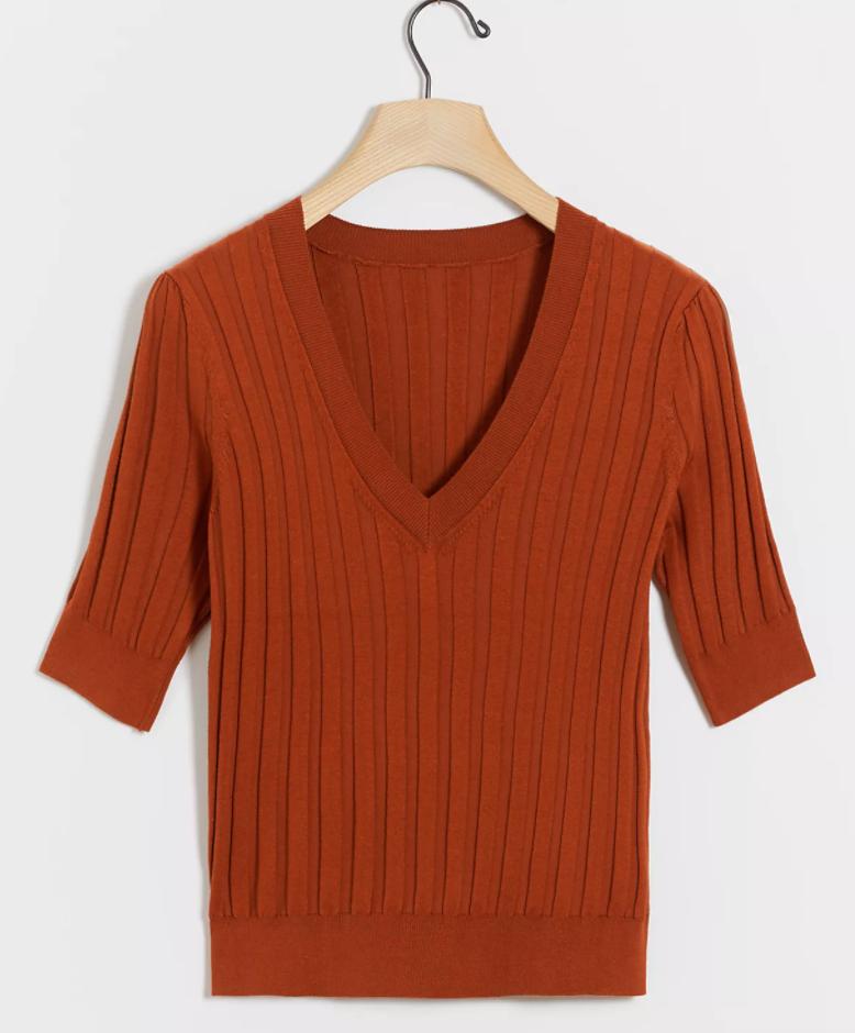 Anthropologie Cecilia V-Neck Sweater Tee in Ochre