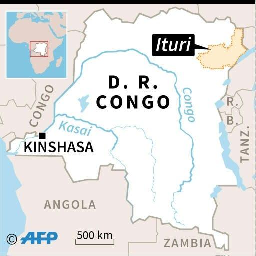 Map of the Democratic Republic of Congo, locating Ituri province