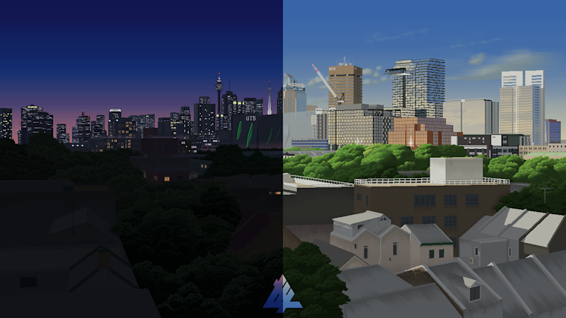 Pictured is Sydney's CBD by day and night. Drawn on MS Paint.