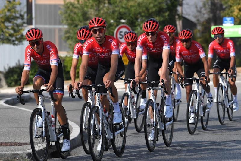 NICE FRANCE AUGUST 28 Warren Barguil of France Clement Russo of France Kevin Ledanois of France Winner Andrew Anacona of Colombia Nairo Quintana Rojas of Colombia and Team Arkea Samsic during the 107th Tour de France 2020 Team Arkea Samsic Training TDF2020 LeTour on August 28 2020 in Nice France Photo by Tim de WaeleGetty Images