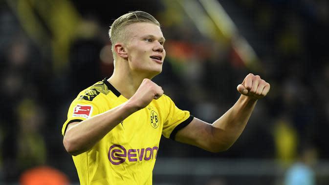Erling Braut Haaland (Borussia Dortmund) - Haaland mempunyai catatan yang sangat mengesankan Liga Champions musim ini. Haaland berhasil mencetak rekor sebagai pemain muda berusia 19 tahun yang telah mencetak 10 gol dalam empat pertandingan. (AFP/Ina Fassbender)