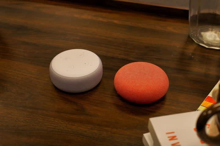 Google Nest Mini vs Amazon Echo Dot 3rd Gen Clock angle
