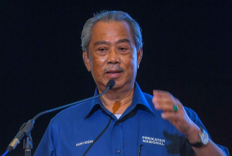 Perikatan Nasional chairman Tan Sri Muhyiddin Yassin speaks at the GRS manifesto's launch at Sutera Harbour Resort in Kota Kinabalu, September 16, 2020. — Bernama pic