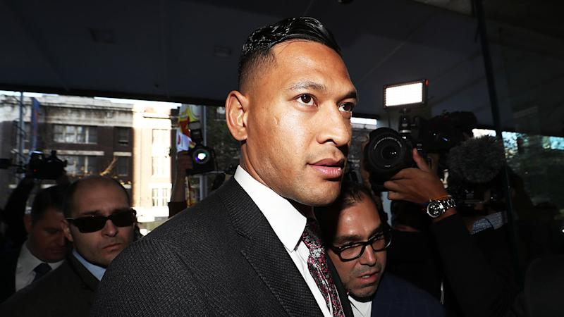 After mediation failed, Israel Folau, pictured outside court, has commenced legal action against Rugby Australia.