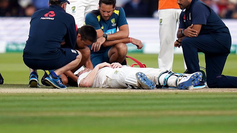 Steve Smith, pictured here after was felled by a nasty bouncer. (Photo by John Walton/PA Images via Getty Images)