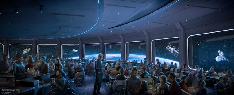 The new Space 220 restaurant at Epcot will be an out-of-this-world culinary experience with the celestial panorama of a space station, including daytime and nighttime views of Earth from 220 miles up. Opening this winter, Space 220 will be operated by the Patina Group. (Disney)