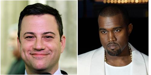 "This combo of photos shows Jimmy Kimmel seen in a Jan. 25, 1013 file photo left and Kanye West seen in a May 23, 2012 file photo. Kimmel and West either are engaged in a bitter feud or a heck of a parody. Kimmel's monologue Thursday night Sept. 26, 2013 was devoted to discussing what he called a ""very angry phone call"" he received from West about an hour and a half before taping ABC's ""Jimmy Kimmel Live."" (AP Photo/File)"