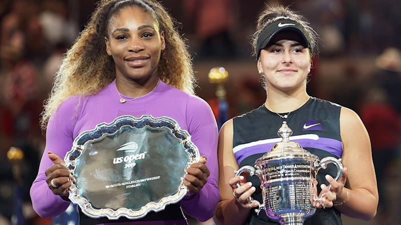 Serena Williams and Bianca Andreescu, pictured here during the US Open final.