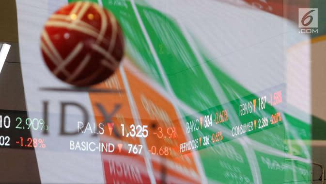 Layar pergerakan Indeks Harga Saham Gabungan (IHSG) di BEI, Jakarta, Rabu (16/5). Sejak pagi IHSG terjebak di zona merah. (Liputan6.com/Angga Yuniar)