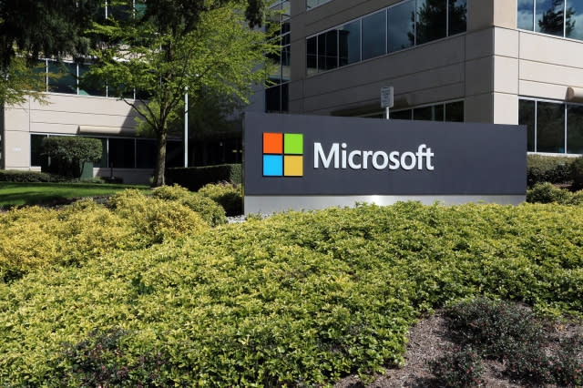 Redmond, WA, USA - April 15, 2017: The Microsoft headquarters campus in Redmond. Microsoft is one of the world's largest computer software, hardware and video gaming companies.
