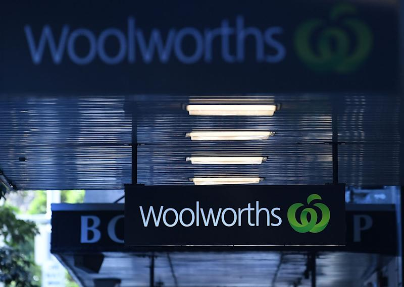Signage outside a Woolworths store in Sydney, Monday, August 20, 2018. Source: AAP