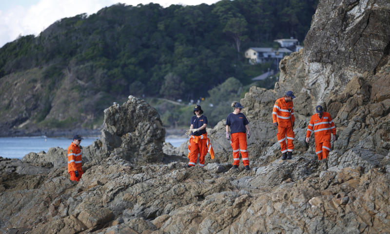 SES volunteers search for missing Belgian backpacker around Cape Byron lighthouse. Source: AAP