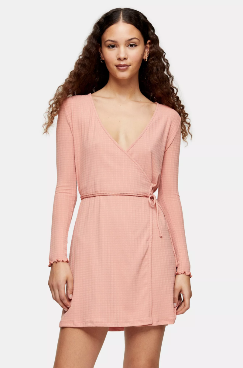 Seersucker Wrap Mini Dress. Image via Topshop.