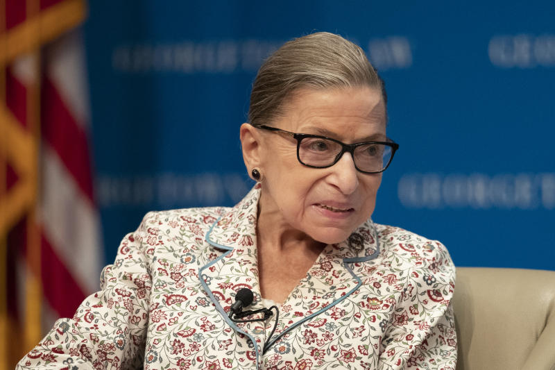 Supreme Court Associate Justice Ruth Bader Ginsburg speaks about her work and gender equality during a panel discussion at the Georgetown University Law Center in Washington, Tuesday, July 2, 2019. (AP Photo/Manuel Balce Ceneta)