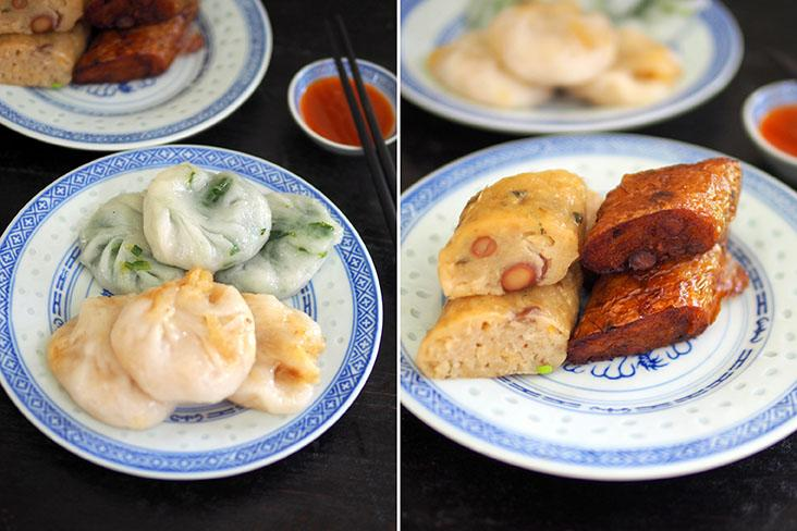 Enjoy soft 'chai kuih' with either a chives or sweeter yam bean filling (left). The Teochew 'guang jiang' is served either steamed or deep fried (right)