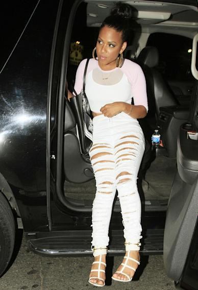 Christina Milian arrives for Chris Brown's birthday party at the Emerson Theatre in Los Angeles