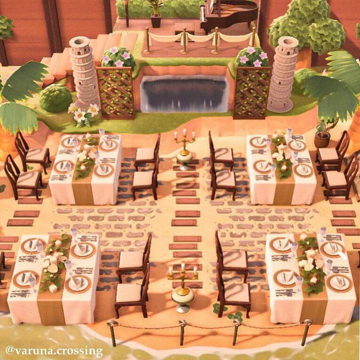 A screenshot of a fancy outdoor dining area in Animal Crossing New Horizons