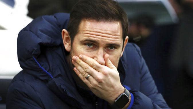 Pelatih Chelsea, Frank Lampard, saat melawan Brighton and Hove Albion pada laga Premier League di Stadion AMEX, Rabu (1/1/2020). Kedua tim bermain imbang 1-1. (AP/(Gareth Fuller)