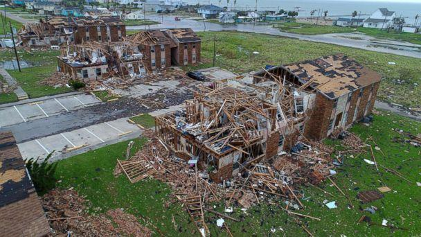 PHOTO: An aerial image shows the remains of the Salt Grass Landing Apartments in Rockport, Texas after Hurricane Harvey, Aug. 27, 2017. (Courtney Sacco and Matt Woolbright/Caller-Times/USAToday Network)