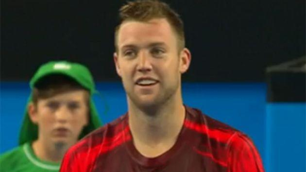 Sock concedes Hewitt's serve was in. Image: Channel 7